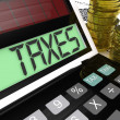 Stock Photo: Taxes Calculator Shows Income And Business Taxation