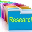 Stock Photo: Research Folders MeInvestigation Gathering DatAnd Analysing