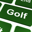 Stock Photo: Golf Key Means Golfer Club Or Golfing