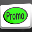 Stock Photo: Promo Button Shows Discount Reduction Or Save
