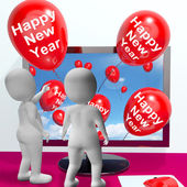 Happy New Year Balloons Show Online Celebration and Invitations — Stock Photo