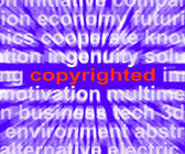 Copyright Word Shows Ownership Of Intellectual Or Patented Prope — Stock Photo