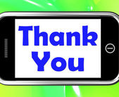Thank You On Phone Shows Gratitude Texts And Appreciation — Stock Photo