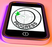 Progress Smartphone Shows Advancement Improvement And Goals — Stock Photo
