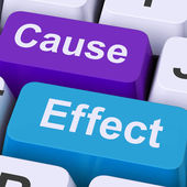 Cause Effect Keys Means Consequence Action Or Reaction — Stock Photo