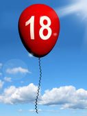 18 Balloon Represents Eighteenth Happy Birthday Celebration — Stock Photo