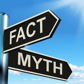 Fact Myth Signpost Means Correct Or Incorrect Information — Stock Photo