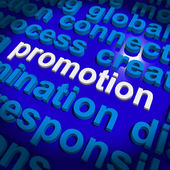 Promotion Word Cloud  Shows Discount Bargain Or Mark down — Stock Photo