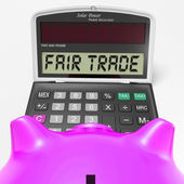 Fair Trade Calculator Shows Ethical Products And Buying — Stock Photo