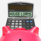 House Loans Calculator Shows Mortgage And Bank Lending — Stock Photo
