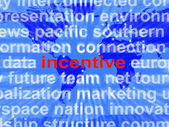 Incentive Word Cloud Shows Bonus Inducement Reward — Stock Photo