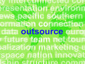 Outsource Word Cloud Shows Subcontract And Freelance — Photo