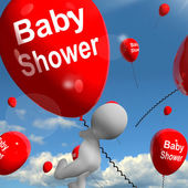 Baby Shower Balloons Shows Cheerful Parties and Festivities — Stock Photo