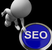 SEO Button Shows Internet Search Engine Optimisation — Stock Photo