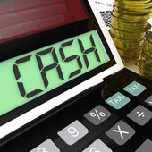 Cash Calculator Shows Money Earning And Spending — Stock Photo