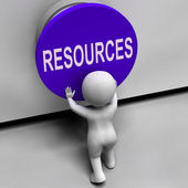 Resources Button Means Funds Capital Or Staff — Stock Photo