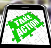 Take Action Smartphone Means Urge Inspire Or Motivate — Stock Photo