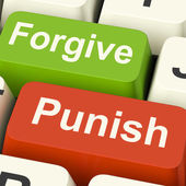 Punish Forgive Keys Shows Punishment or Forgiveness — Stock Photo