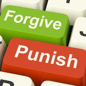 Punish Forgive Keys Shows Punishment or Forgiveness — Stock Photo