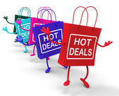 Hot Deals Bags Represent Shopping  Discounts and Bargains — Stock Photo