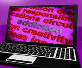 Addiction Screen Means Obsession Enslavement Or Dependence — Stock Photo