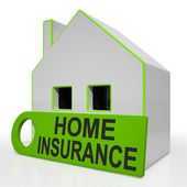 Home Insurance House Shows Premiums And Claiming — Stock Photo