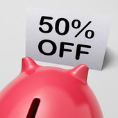 Fifty Percent Off Piggy Bank Shows 50 Half-Price Promotion — Stock Photo