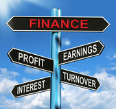 Finance Signpost Shows Profit Earnings Interest And Turnover — Stock Photo