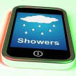 Stock Photo: Showers On Phone Means Rain Rainy Weather