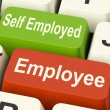 Stock Photo: Employee Self Employed Keys Means Choose Career Job Choice
