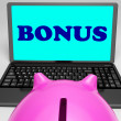 Stock Photo: Bonus Laptop Means Perk Benefit Or Dividend