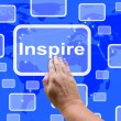 Inspire Touch Screen Shows Motivation And Encouragement — Stock Photo