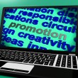 Promotion Screen Shows Marketing Campaign Or Promo — 图库照片 #41161947