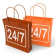 Stock Photo: Twenty four Seven Bags Show Hours Open