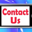 Contact Us On Phone Shows Communicate Online — Stock Photo
