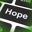 Stock Photo: Hope Key Shows Hoping Hopeful Wishing Or Wishful
