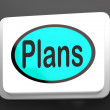 Stock Photo: Plans Button Shows Objectives Planning And Organizing