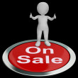 Stock Photo: On Sale Button Means Reduced Price And Cheap Products