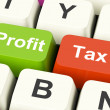 Stock Photo: Profit Tax Keys Show Paying Company Taxes