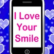 I Love Your Smile On Phone Means Happy Smiley Expression — Stock Photo