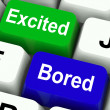 Excited Bored Keys Show Exciting And Boring Websites — Stock Photo