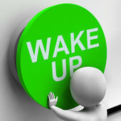 Wake Up Button Means Alarm Awake Or Morning — Stock Photo