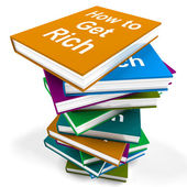 How To Get Rich Book Stack Shows Make Wealth Money — Stock Photo