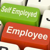 Employee Self Employed Keys Means Choose Career Job Choice — Stock Photo