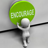 Encourage Button Means Inspire Motivate And Energize — Stock Photo