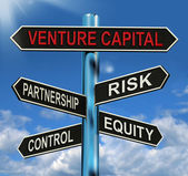 Venture Capital Signpost Shows Partnership Risk Control And Equi — Stock Photo
