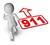Running Character And 911 Nine One Shows Emergency Help Rescue — Stock Photo