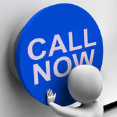 Call Now Button Shows Assistance And Support Center — Stock Photo