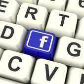 Facebook Key Means Connect To Face Book — Stock Photo