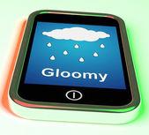 Gloomy On Phone Shows Dark Grey Miserable Weather — Stock Photo